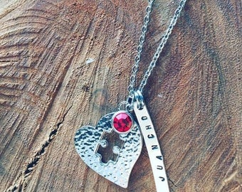 Personalized, handstamped Piece Of My Heart Austism Awareness Necklace