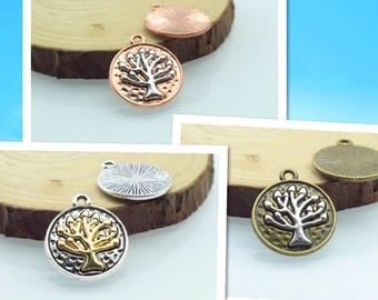 Wholesale 100 Pieces /Lot Antique Silver & Bronze and brass Plated 20mm trees charms