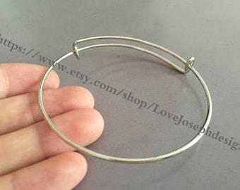 10pieces silver plated Adjustable 64mm Bangle Wire Bracelet Expandable Bangle Bracelets  (# 0166)