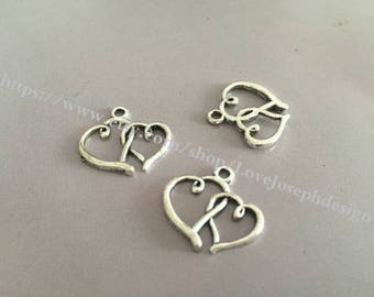 wholesale 100 Pieces /Lot Antique Silver Plated 19mmx16mm double heart charms (#020)