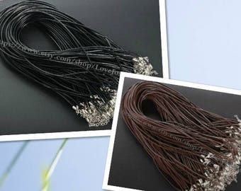 Adjustable 14-16inches wholesale 100pieces 2.0mm Black & Brown genuine necklace cords