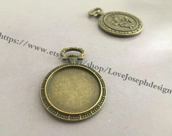 wholesale 30 Pieces /Lot Antique Bronze Plated 22mm (inner side) cabochon trays charms(#0453)