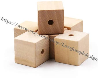 10PCS/50PCS/100PCS Unfinished 20mmx20mm square Wood beads Spacer Beads faceted wooden accessories