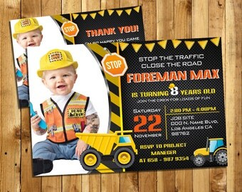 Construction Birthday Invitation, Dump Truck, Construction Theme, Under Construction, Dump Everything, Boy Birthday | MCO_2