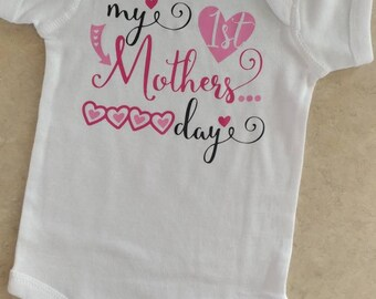 My 1st Mother's Day/ Mother's Day Onesie/ Baby Girl Onesie/ Baby Boy Onesie