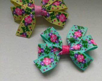 Flower hair bow, glitter hair clip, pigtail set, US designer ribbon,  floral print hair bow, teal hairbow, yellow hair bow, pigtail bows
