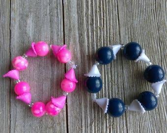 Kids bracelet - kids jewelry - baby bracelet - school bracelet - blue bracelet - custom jewelry - beaded bracelet - gumball bracelet