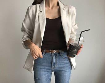 linen jacket Blazer- Long sleeves jacket- Linen jacket-  linen blazer-Linen summer coat-linen women's clothing