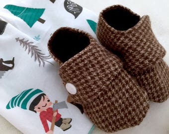 Brown Baby Shoes, Houndstooth Baby Booties, Preppy Crib Shoes, Gender Neutral