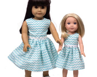 Made to fit all dolls like American Girl 18 inch doll clothes Doll Shopkins dress This Hand Made doll dress in a Shopkins print fabric dress