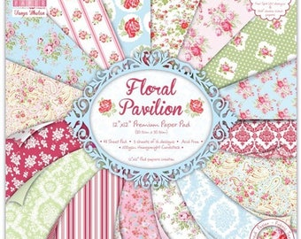"""Set of 16 papers """"First Edition"""" two pockets 30.5 cm FLORAL PAVILION."""