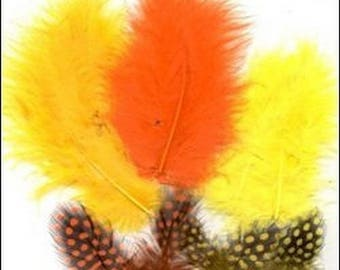 18 marabou feathers and Guinea fowl colorful 7 / 11 cm ORANGE yellow tones