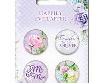 4 round metal embellishments to paste SCRAPBERRY' HAPPILY EVER AFTER S