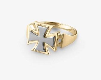 Maltese Gold Cross Ring, Maltese Mens Ring, Biker Ring