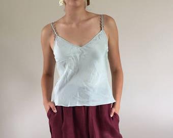 Vintage Sky Blue 100% Silk Bias Cut Camisole