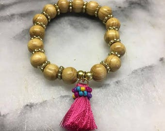 8mm Wooden Beaded Bracelet with Hot Pink Tassel