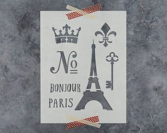 French Stencil - Reusable DIY Craft Stencils of the Eiffel Tower, French Words, Crown, and Fleur De Lis - Paris Stencil