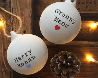 Handmade Personalised Ceramic Bauble- Christmas Decoration- Christmas Tree