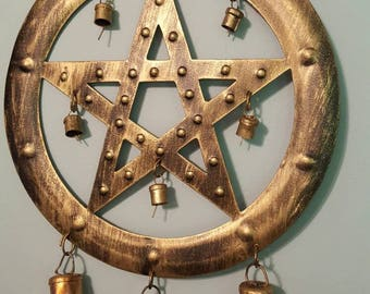 Wiccan Pagan Pentagram bell for good luck and protection