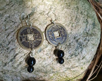 Feng shui Chinese coin earrings for good luck and prosperity - gift bag and coin meaning included