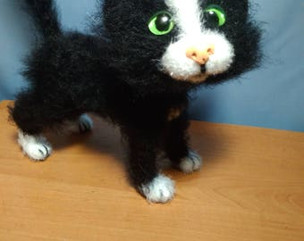 Black cat Stuffed animal Doll cat Plush cat lover gift Kawaii cats Kitten Home decor Birthday Gifts Kitty doll Miniature cat Lucky black cat