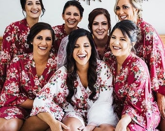 Set of 6  Bridesmaid Floral Robes, Unique Bridesmaids Gift Idea, Getting Ready Robes, Bridal Robe, Kimono Robes, Priority Ship from New York