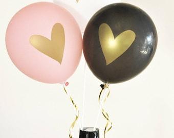 Metallic Gold Heart Latex Balloons (Set of 3) - Bridal Shower, Baby Shower, Bride Centerpiece Decorations