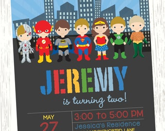 Justice League Birthday Invitation Superhero DC Comics Birthday Invitation