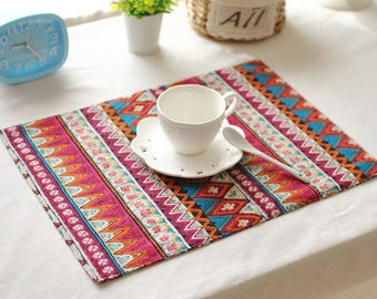 Set of 2 Premium Tribal Stripe Print Cotton Linen Placemats Dinning Table Cloth