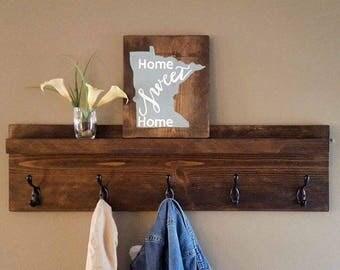 Entryway Wooden Coat Rack with Shelf, Storage, Mudroom, Bathroom Towel Hooks, Wall Hanging Coat Hooks, Rustic, Modern, Farmhouse, Cottage