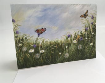 Butterflies and Flowers greetings card
