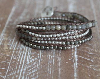 silver, bronze and labradorite wrap bracelet