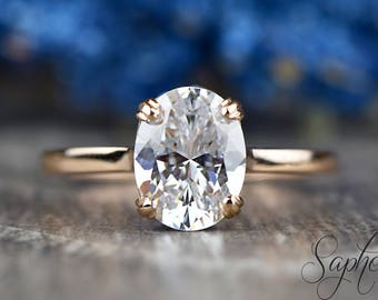 Oval Cut Moissanite Engagement Ring in 14k Rose Gold, Gemstone Wedding Ring, Sapphire Solitaire Ring, Moissanite Bridal Ring by Sapheena