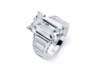 Large Emerald Cut Ring, Emerald and Baguettes, Baguettes Ring, Engagement Rings, Engagement Ring, Emerald cut Ring
