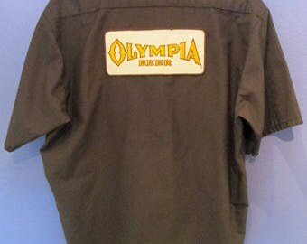 Olympia Men's Button Down Beer Shirt XL