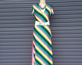 "Disco Diva Jazzercise Rainbow Stripe Dress by ""Styro"""