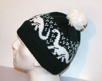 Bottle Green beanie hat with Brontosaurus Dinosaurs - with or without pompom