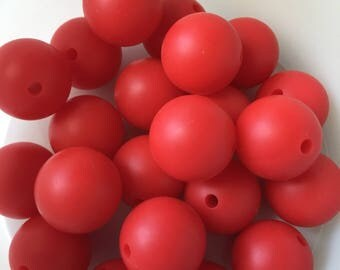 15mm Silicone Beads*Red Coral*nursing necklaces