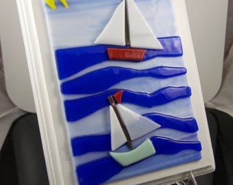 Whimsical Sailboats on the Sea wall hanging