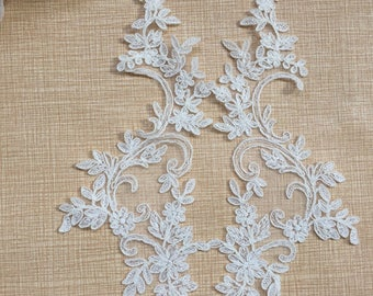 1 Pair Bridal Lace Applique DIY Trim Appliques in Beige for Weddings,   Sashes, Veils, Headpieces, WL1778
