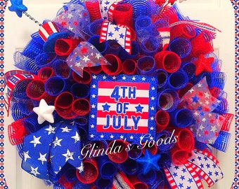 Ready to SHIP! Americana wreath, 4th of July Wreath, Patriotic Wreath, Independence Day wreath, USA wreath, American Wreath, Red White Blue
