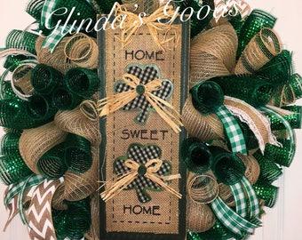 Ready to SHIP! Home Sweet Home Wreath, Irish Wreath, Irish Mesh Wreath, St Patricks Day Wreath, St Pattys Day Wreath, Irish Decor