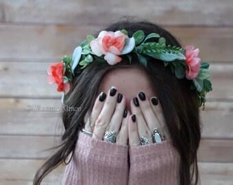 Peach flower crown, bridal flower crown, apple blossom flower crown, coral floral crown wedding, pink flower crown