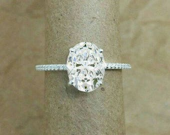 2 Carat White sapphire engagement ring,AAAA Quality Grade ,oval engagement ring in 18k White gold .35% OFF .Limited time only.