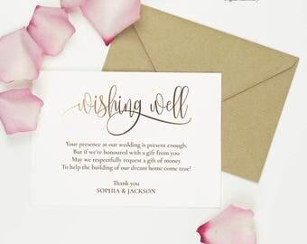Wedding Wishing Well Card Template Gold