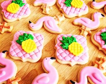 Flamingo cookies/pinaple cookies/cookies // flamingo pinaple party // favors/gold pinaple/flamingo party/pink flamingo/custom cookies