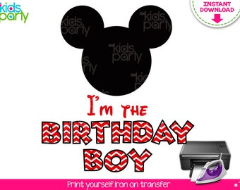 INSTANT DOWNLOAD Mickey Mouse Iron on Transfer Birthday Boy Shirt Print Yourself, Mickey Mouse Party, Mickey Mouse Birthday T-Shirt