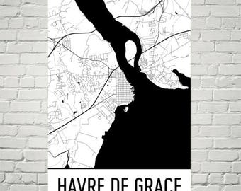 Havre De Grace Map, Havre De Grace Art, Havre De Grace Print, Havre De Grace MD Poster, Maryland Wall Art, Maryland Gifts, Maryland Decor