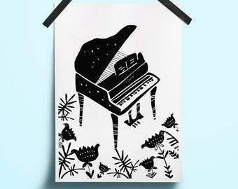 Art poster music Art musical instrument Music print illustration Jazz illustration Floral minimal art Floral black art Poster digital music