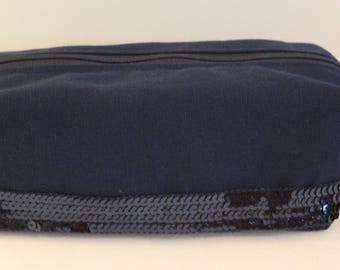 Glitter Navy Blue Pencil Pouch style Vanessa Bruno